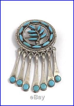 Native American Sterling Silver Zuni Handmade Sleeping Beauty Pin Pendant