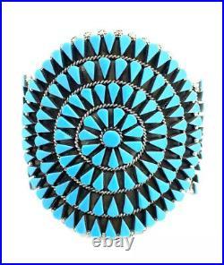 Native American Sterling Silver Zuni Sleeping Beauty Turquoise Cuff Bracelet