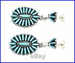 Native American Sterling Silver Zuni Sleeping Beauty Turquoise Dangle Earrings