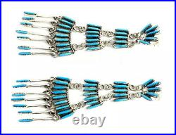 Native American Sterling Silver Zuni Sleeping Beauty Turquoise Earring