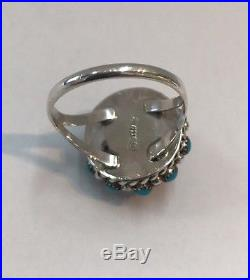 Native American Sterling Silver Zuni Sleeping Beauty Turquoise Ring Size 7.75