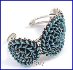 Native American Sterling Zuni Needle Point Sleeping Beauty Turquoise Bracelet