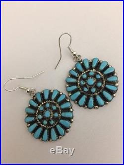 Native American Zuni Handmade Natural Sleeping Beauty Turquoise Dangle Earrings