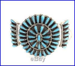 Native American Zuni Handmade Sleeping Beauty Turquoise Cuff Bracelet