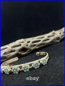 Native American Zuni Inlay Sleeping Beauty Turquoise Sterling Flower Bracelet