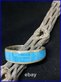Native American Zuni Inlay Sleeping Beauty Turquoise Sterling Silver Bracelet