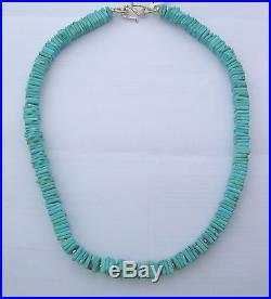 Native American Zuni Sleeping Beauty Turquoise Heishi Necklace