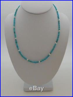 Native American Zuni Sleeping Beauty Turquoise & Silver Nugget Necklace