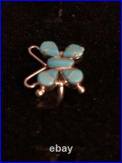 Native American Zuni Sleeping Beauty Turquoise & Sterling Inlay Butterfly Ring