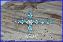 Native American Zuni Sterling Silver Sleeping Beauty Turquoise Cross Pendant