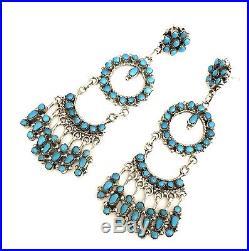 Native American sterling silver Zuni handmade Sleeping Beauty dangle earring