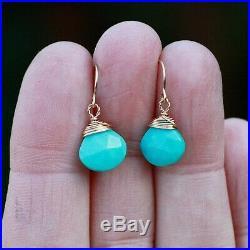 Natural Arizona Sleeping Beauty Turquoise Earrings Solid 14K Yellow Gold