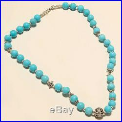 Natural Beaded Sleeping Beauty Turquoise Necklace 925 Sterling Silver Jewelry AA