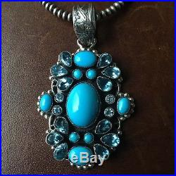 Natural Sleeping Beauty Sterling Pendant Necklace Blue Topaz Signed Leo Feeney