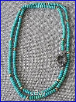 Natural Sleeping Beauty Turquoise 14k Yellow Gold Necklace 30 Inches Long