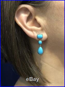 Natural Sleeping Beauty Turquoise 14kt Solid Gold Dangle/Drop Earrings, New
