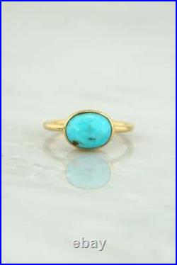 Natural Sleeping Beauty Turquoise Band Ring Pure Solid 14k Gold HandmadeGenuine