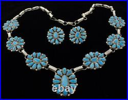 Natural Sleeping Beauty Turquoise Cluster Necklace And Matching Earrings