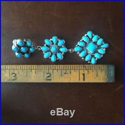 Natural Sleeping Beauty Turquoise Dangle Earrings Navajo D. Ashley Signed