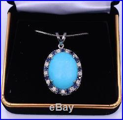 Natural Sleeping Beauty Turquoise Halo Sapphire & Diamond Pendant 14k White Gold