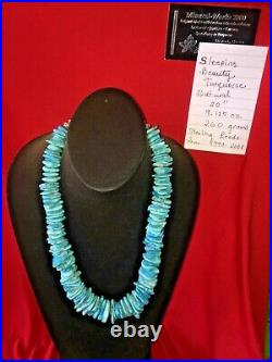 Natural Sleeping Beauty Turquoise Large Necklace with Sterling Silver