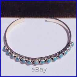 Natural Sleeping Beauty Turquoise Sterling Bracelet VTG Handmade Snake Eye Cuff