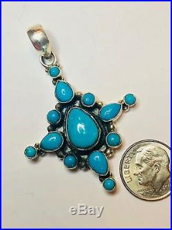 Natural Sleeping Beauty Turquoise Sterling Silver Pendant 2.25 Cross 925