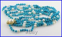 Natural Sleeping Beauty Turquoise and Pearl Necklace 14K Yellow Gold Royal Clasp