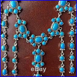 Natural Sleeping Beauty Turquoise with Sterling Silver Waterfall Necklace Signed