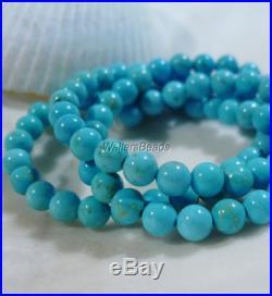 Natural Turquoise Gemstone Round Bead Strand Sleeping Beauty USA 4 MM 16