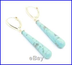 Natural Turquoise Sleeping Beauty Earrings, 14K Yellow Gold with Leverbacks