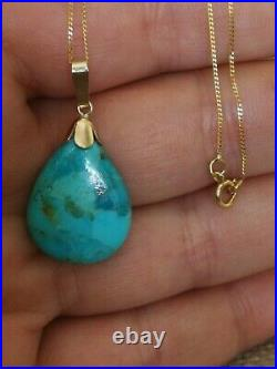 Natural blue Sleeping Beauty Turquoise solid 9ct gold pendant necklace vtg style