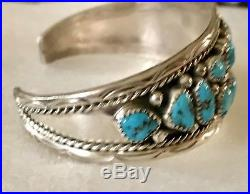 Navajo Annie Chapo Sterling Silver Sleeping Beauty Turquoise Cuff Bracelet Ex