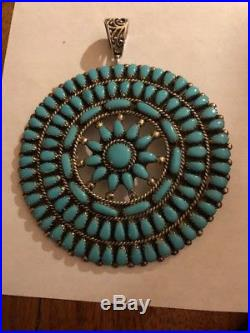 Navajo Conch Large Cluster Sleeping Beauty Turquoise Pendant Signed SWM