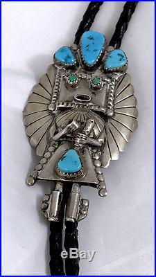 Navajo Doris Smallcanyon Signd Bolo Kachina Kingman & Sleeping Beauty Turquoise