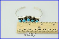 Navajo Ella Cowboy Sterling Silver Sleeping Beauty Turquoise Cuff Bracelet