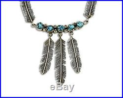 Navajo Feather Natural Blue Sleeping Beauty Turquoise Necklace