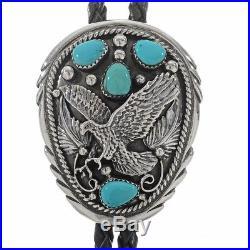 Navajo HandMade Sleeping Beauty Turquoise Sterling Silver Eagle Men's Bolo Tie