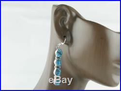 Navajo Handcrafted Sterling Silver 4 stone Sleeping Beauty Turquoise Earrings