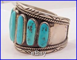 Navajo Handmade Nickel Silver Sleeping Beauty Turquoise 9-Stone Cuff Bracelet