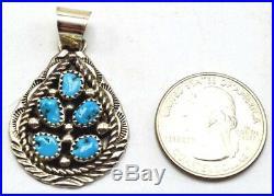 Navajo Handmade Sleeping Beauty Turquoise Cluster Pendant in Sterling Silver