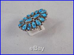 Navajo Handmade Sleeping Beauty Turquoise Cluster Ring set in Sterling Silver