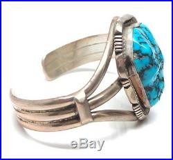 Navajo Handmade Sleeping Beauty Turquoise Sterling Silver Bracelet -M. P