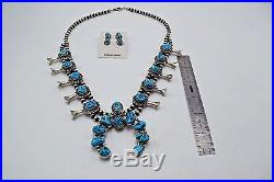 Navajo Handmade Sleeping Beauty Turquoise Sterling Silver Squash Blossom Johnson