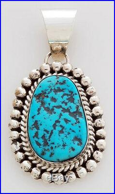 Navajo Handmade Sterling Silver Pendant with Sleeping Beauty Turquoise
