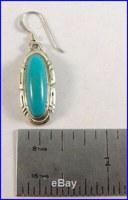 Navajo Handmade Sterling Silver Sleeping Beauty Hook Earrings Elouise Kee