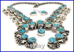 Navajo Handmade Sterling Silver Sleeping Beauty Turq Squash Blossom Necklace Set