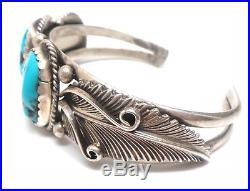 Navajo Handmade Sterling Silver Sleeping Beauty Turquoise Bracelet -J