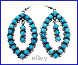 Navajo Handmade Sterling Silver Sleeping Beauty Turquoise Dangle Earrings