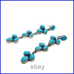 Navajo Handmade Sterling Silver Sleeping Beauty Turquoise Earrings Geneva J A